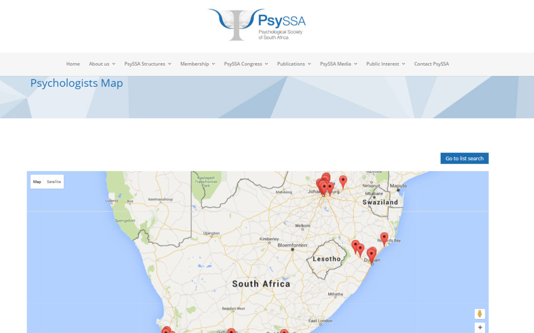 Private practitioners please update your details on the PsySSA Directory