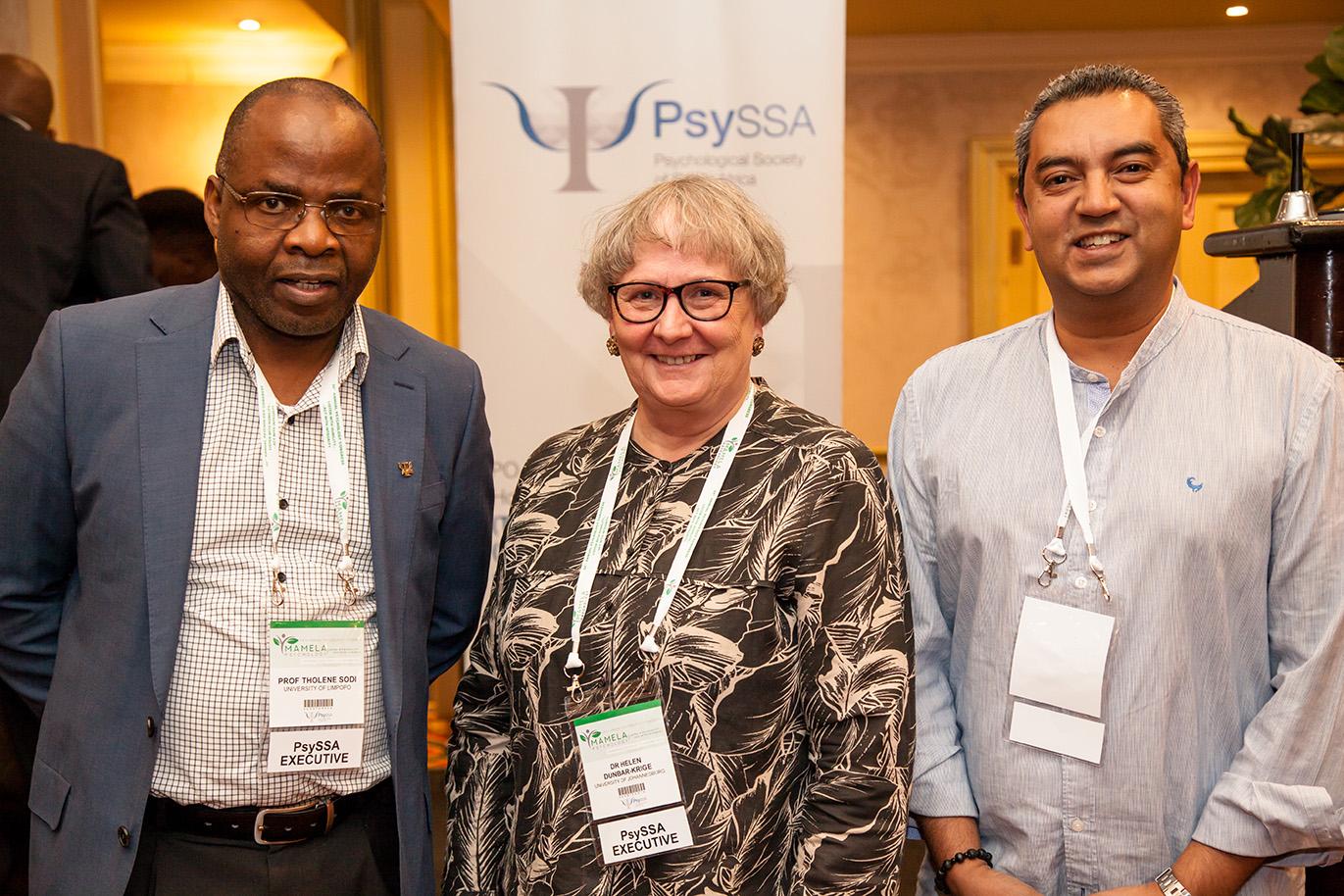 PsySSA Presidency: Prof Sodi (Past President), Dr Dunbar-Krige (PsySSA President), Prof Stevens (President Elect)